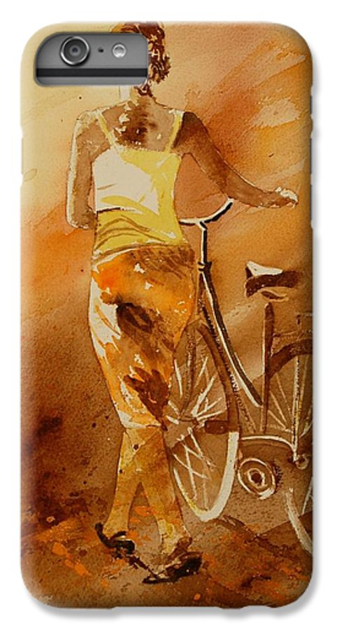 Figurative IPhone 6 Plus Case featuring the painting Watercolor With My Bike by Pol Ledent