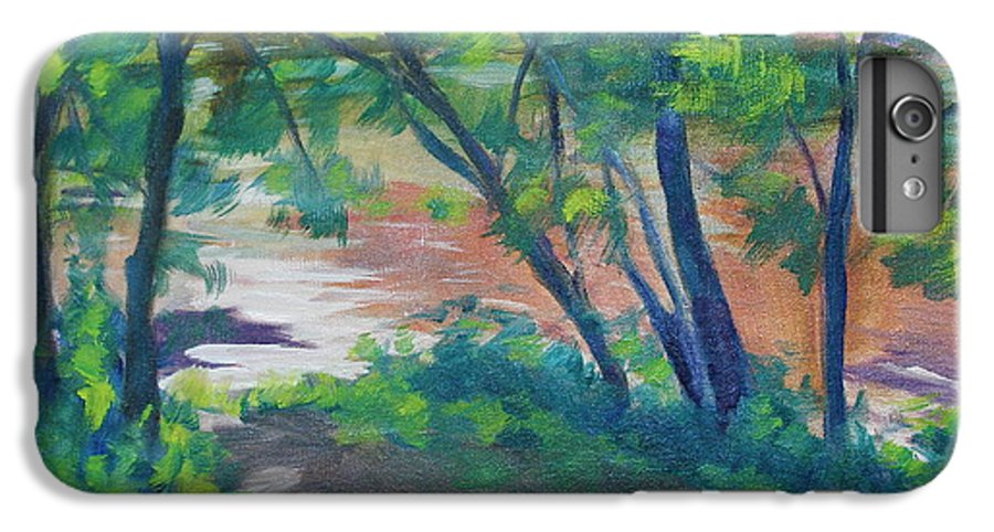 Landscape IPhone 6 Plus Case featuring the painting Watercress Beach On The Current River  by Jan Bennicoff