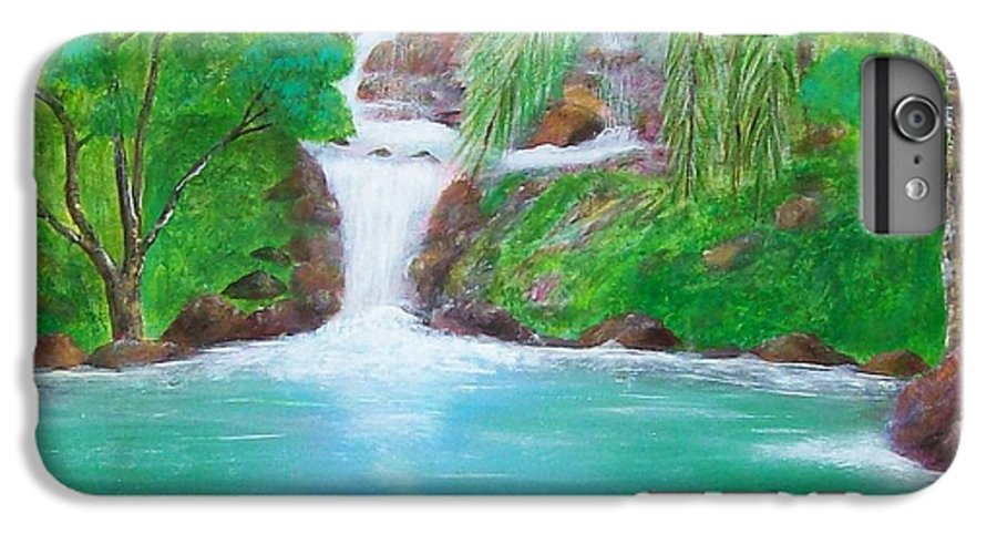 Waterfall IPhone 6 Plus Case featuring the painting Waterfall by Tony Rodriguez