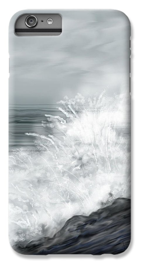 Seascape IPhone 6 Plus Case featuring the painting Waves Crashing The Rocks In Ireland by Anne Norskog