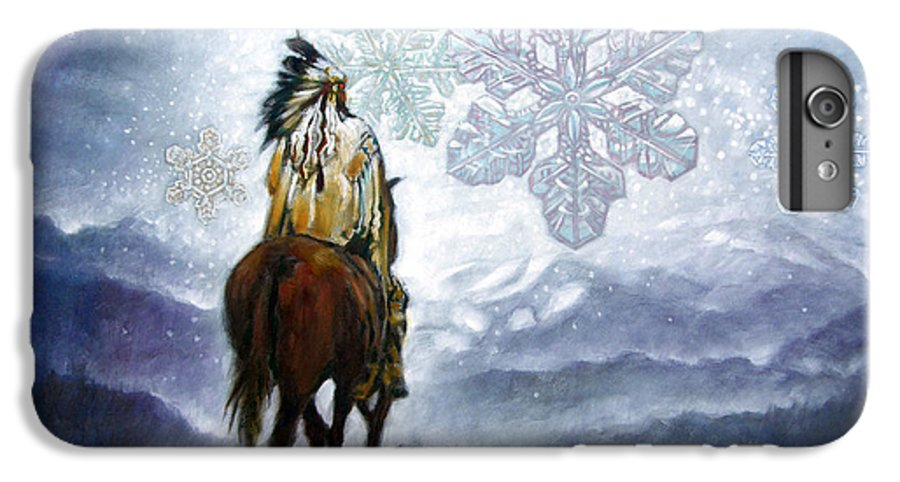 American Indian IPhone 6 Plus Case featuring the painting We Vanish Like The Snow Flake by John Lautermilch