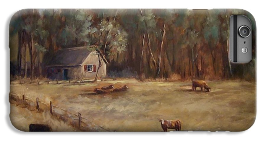Landscape Cattle Hills Mountains Trees Sky Fence House IPhone 6 Plus Case featuring the painting Weathered Shutters by Ruth Stromswold