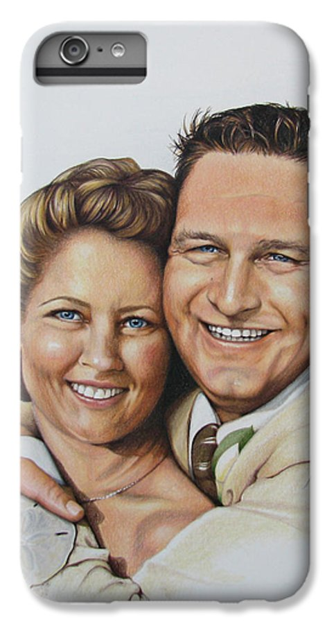 Wedding Portraits IPhone 6 Plus Case featuring the drawing Wedding Portrait Jeremy N Katie by Joan Garcia