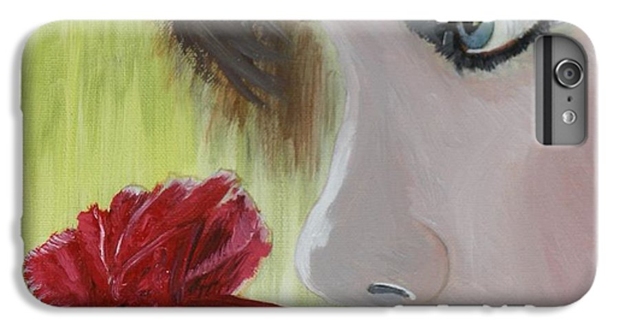 Romance IPhone 6 Plus Case featuring the painting Wedding Rose by J Bauer