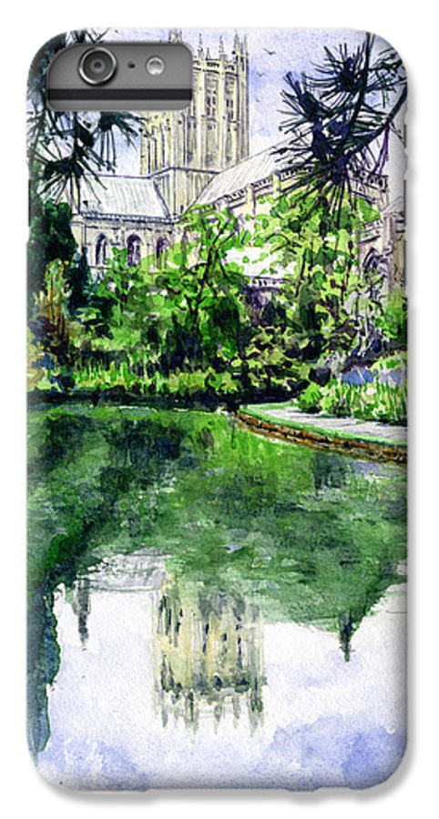 Wells IPhone 6 Plus Case featuring the painting Wells Cathedral by John D Benson