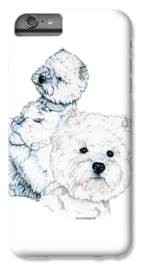 West Highland White Terrier IPhone 6 Plus Case featuring the drawing West Highland White Terriers by Kathleen Sepulveda