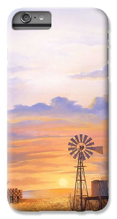 Windmill IPhone 6 Plus Case featuring the painting West Texas Sundown by Howard Dubois