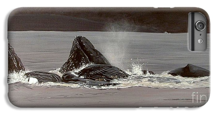 Whale IPhone 6 Plus Case featuring the painting Whales Feeding by Shawn Stallings