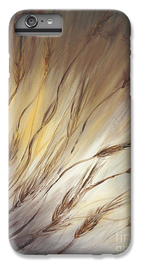 Wheat IPhone 6 Plus Case featuring the painting Wheat In The Wind by Nadine Rippelmeyer