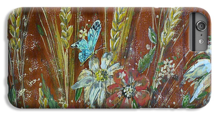 Flowers IPhone 6 Plus Case featuring the painting Wheat 'n' Wildflowers I by Phyllis Mae Richardson Fisher