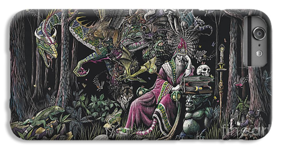 Dragon IPhone 6 Plus Case featuring the drawing When Wizards Dream by Stanley Morrison