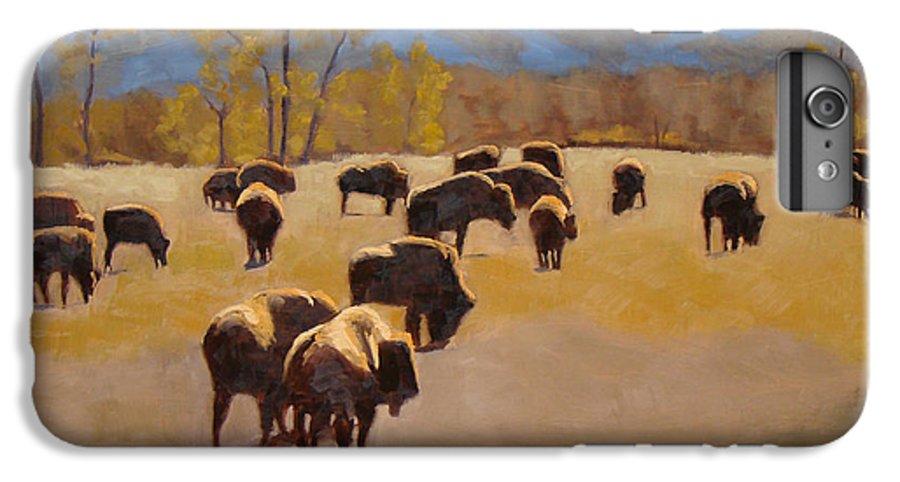 Buffalo IPhone 6 Plus Case featuring the painting Where The Buffalo Roam by Tate Hamilton