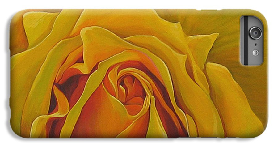 Yellow Rose IPhone 6 Plus Case featuring the painting Where The Rose Is Sown by Hunter Jay
