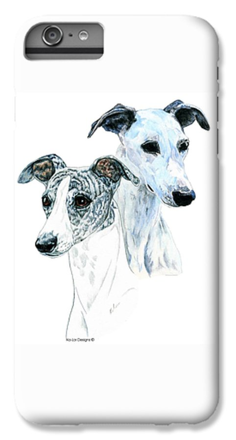 Whippet IPhone 6 Plus Case featuring the painting Whippet Pair by Kathleen Sepulveda