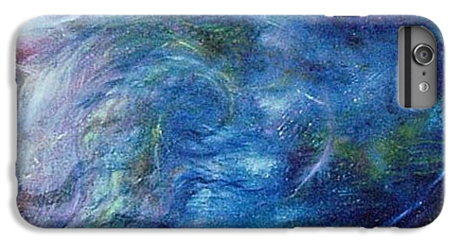 Abstract IPhone 6 Plus Case featuring the painting Whispers In A Sea Of Blue by Nancy Mueller