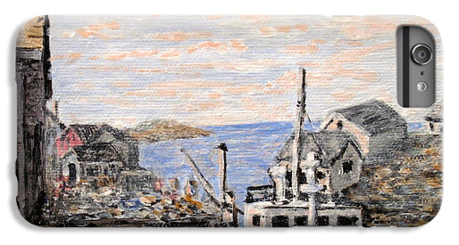 White IPhone 6 Plus Case featuring the painting White Boat In Peggys Cove Nova Scotia by Ian MacDonald