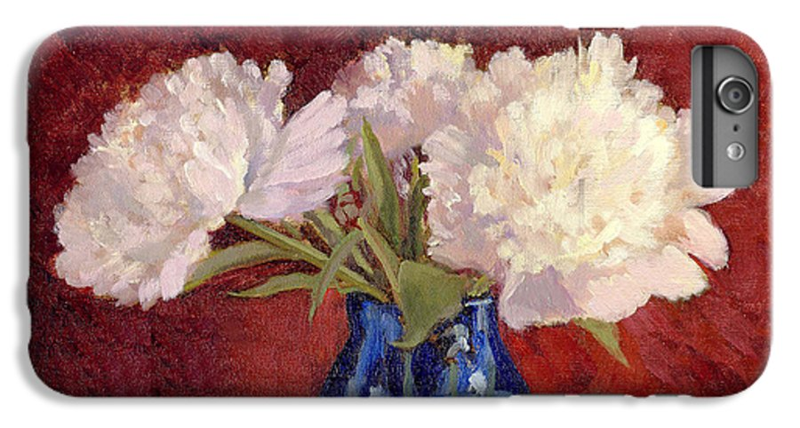 Peonies IPhone 6 Plus Case featuring the painting White Peonies by Keith Burgess