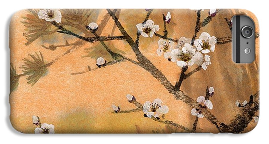 White Plum Blossoms IPhone 6 Plus Case featuring the painting White Plum Blossoms With Pine Tree by Eileen Fong