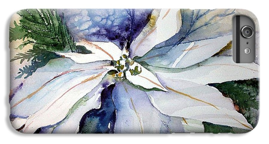Floral IPhone 6 Plus Case featuring the painting White Poinsettia by Mindy Newman