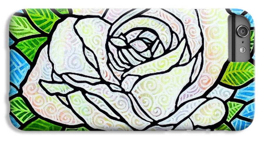 White IPhone 6 Plus Case featuring the painting White Rose by Jim Harris
