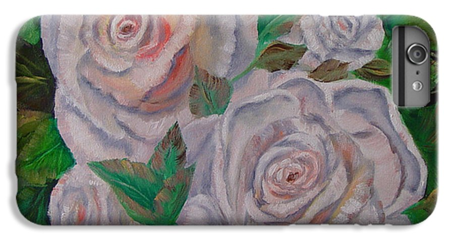 Roses IPhone 6 Plus Case featuring the painting White Roses by Quwatha Valentine