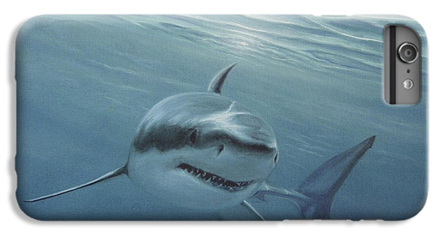 Shark IPhone 6 Plus Case featuring the painting White Shark by Angel Ortiz