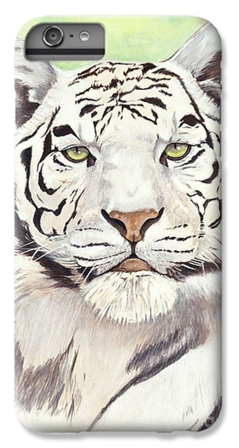 Tiger IPhone 6 Plus Case featuring the painting White Silence by Shawn Stallings