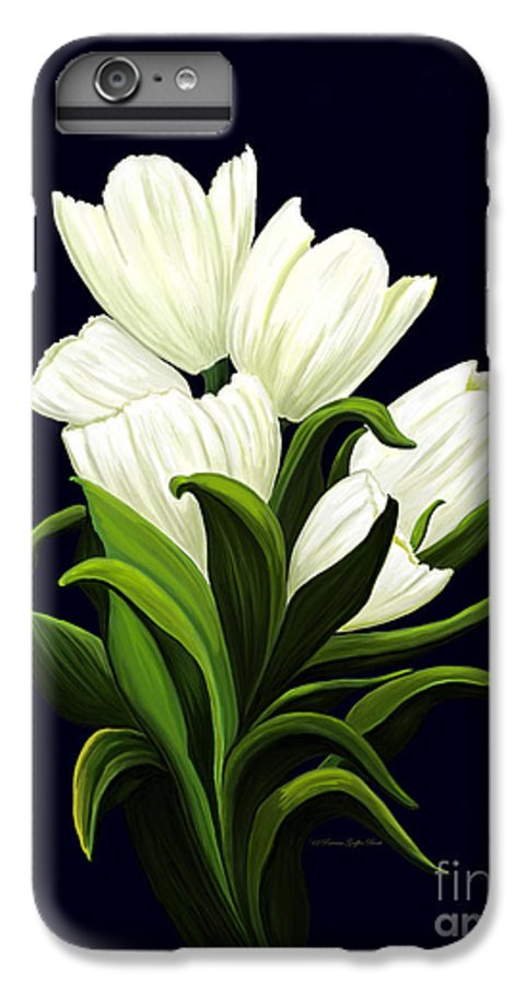 Mixed Media IPhone 6 Plus Case featuring the painting White Tulips by Patricia Griffin Brett