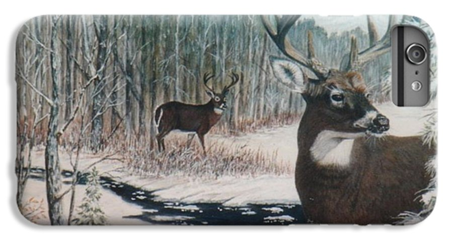 Deer; Snow; Creek IPhone 6 Plus Case featuring the painting Whitetail Deer by Ben Kiger