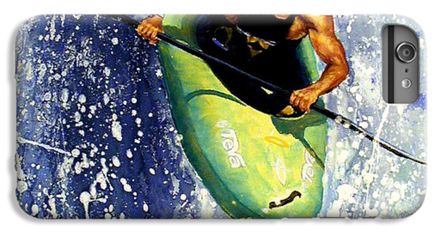 Kayaker IPhone 6 Plus Case featuring the painting Whitewater Kayaker by Lynee Sapere