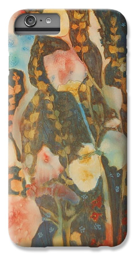 Flower Abstract IPhone 6 Plus Case featuring the painting wild flowers in the wind I by Henny Dagenais