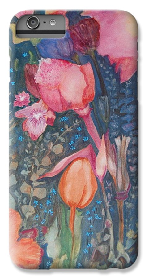 Flower Abstract IPhone 6 Plus Case featuring the painting Wild Flowers In The Wind II by Henny Dagenais
