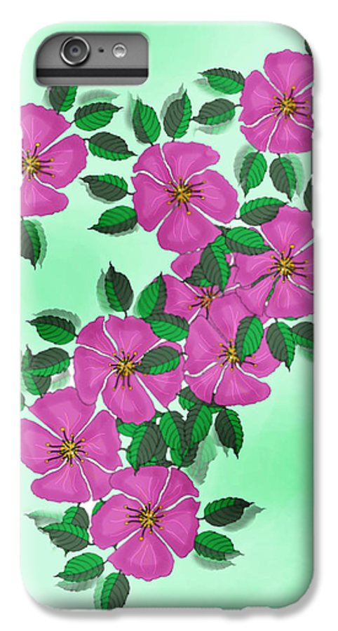 Floral IPhone 6 Plus Case featuring the painting Wild Roses by Anne Norskog