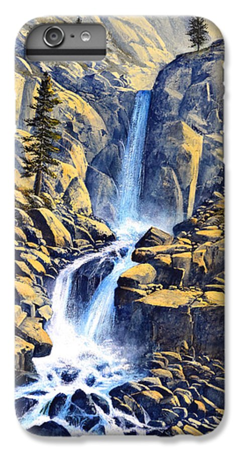 Wilderness Waterfall IPhone 6 Plus Case featuring the painting Wilderness Waterfall by Frank Wilson