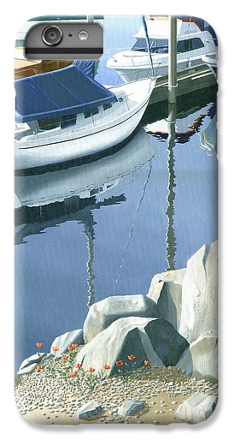 Sailboat IPhone 6 Plus Case featuring the painting Wildflowers On The Breakwater by Gary Giacomelli