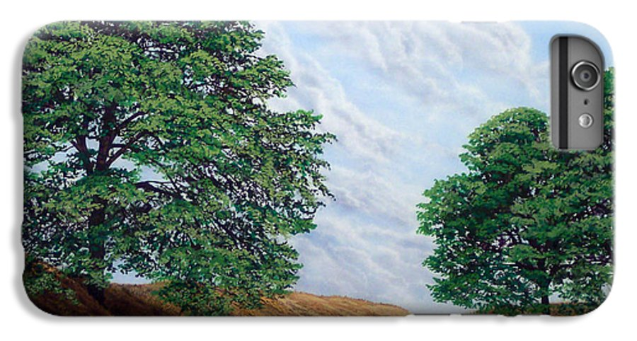 Landscape IPhone 6 Plus Case featuring the painting Windblown Clouds by Frank Wilson