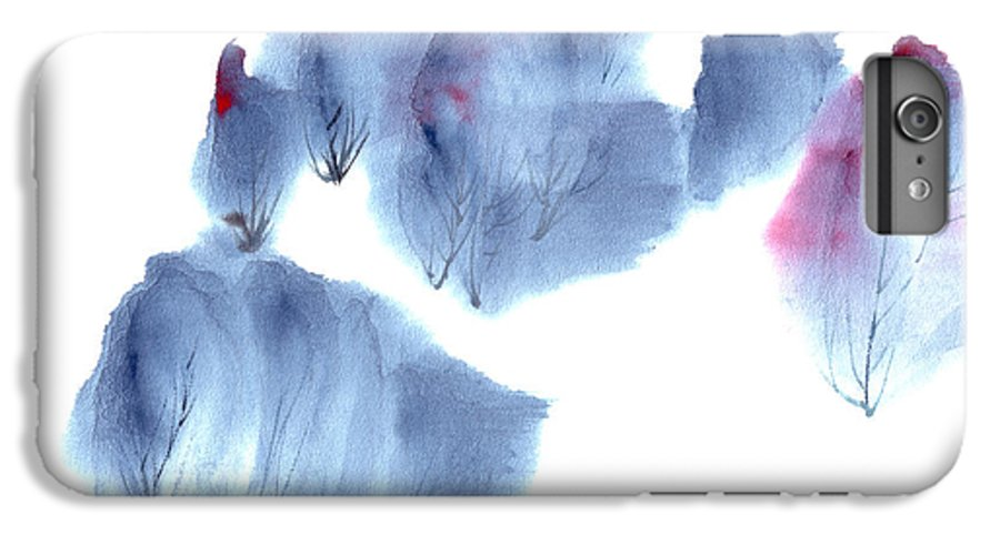 Waving Trees In A Forest On A Windy Day. This Is A Contemporary Chinese Ink And Color On Rice Paper Painting With Simple Zen Style Brush Strokes.  IPhone 6 Plus Case featuring the painting Windy Forest by Mui-Joo Wee