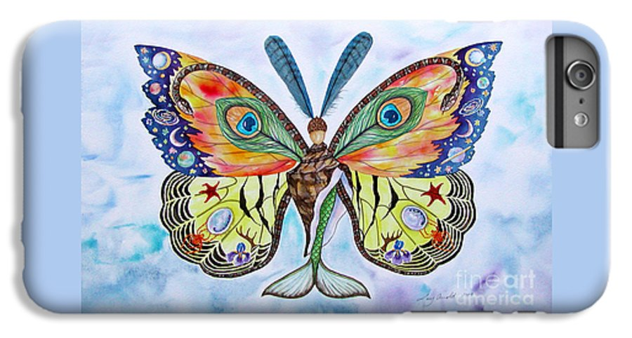 Butterfly IPhone 6 Plus Case featuring the painting Winged Metamorphosis by Lucy Arnold
