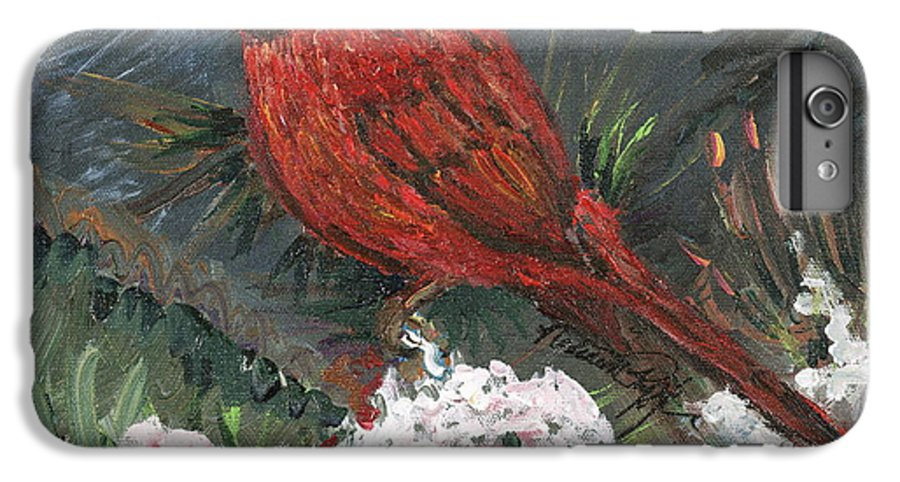 Bird IPhone 6 Plus Case featuring the painting Winter Cardinal by Nadine Rippelmeyer