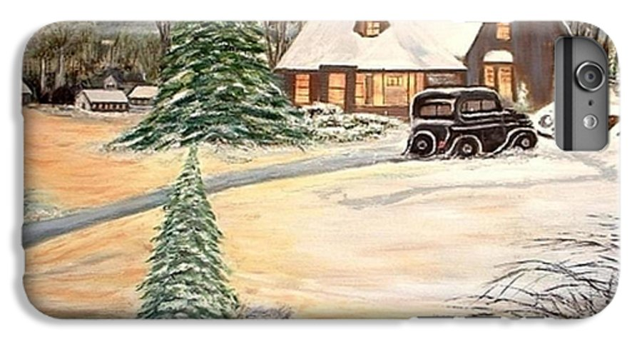 Landscape Home Trees Church Winter IPhone 6 Plus Case featuring the painting Winter Home by Kenneth LePoidevin
