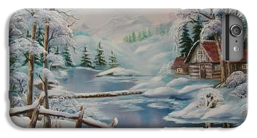 Winter Scapes IPhone 6 Plus Case featuring the painting Winter In The Valley by Irene Clarke