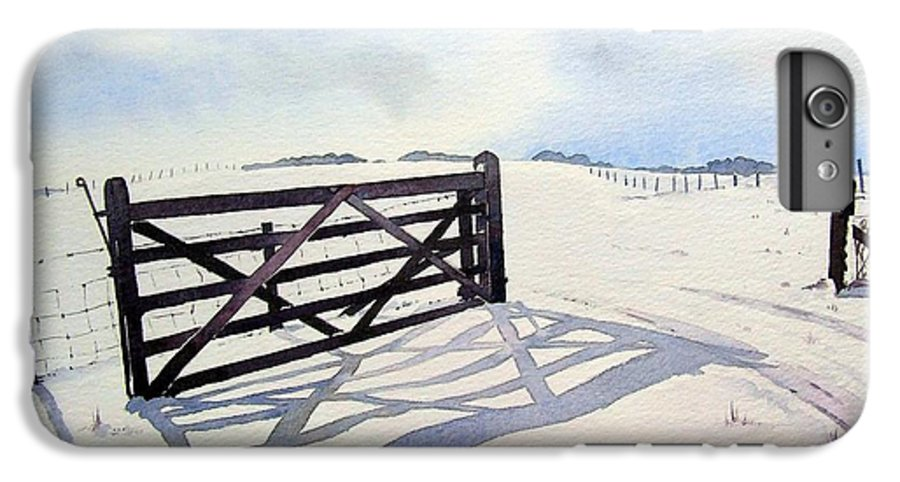 Landscape IPhone 6 Plus Case featuring the painting Winter Scene With Gate by Paul Dene Marlor