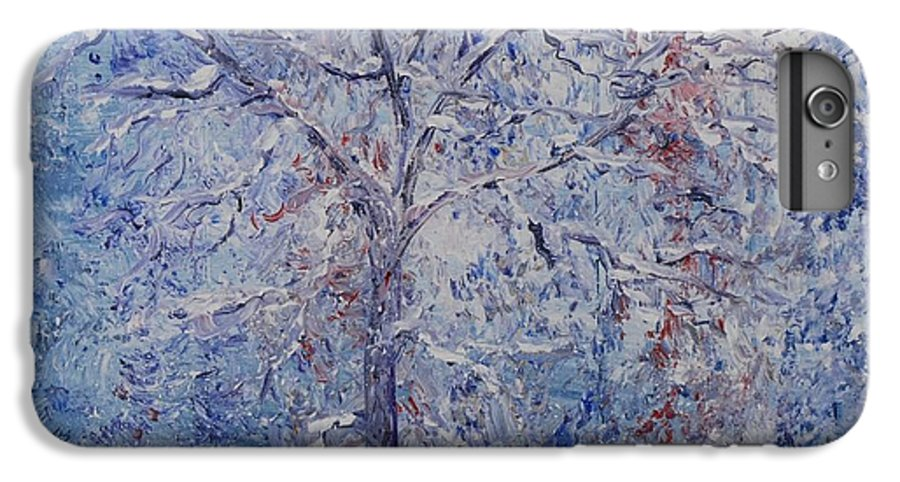 Winter IPhone 6 Plus Case featuring the painting Winter Trees by Nadine Rippelmeyer