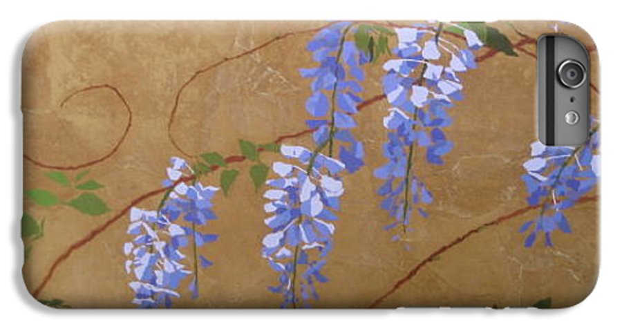 Periwinkle Wisteria Flowers IPhone 6 Plus Case featuring the painting Wisteria by Leah Tomaino