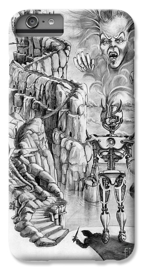 Witch IPhone 6 Plus Case featuring the drawing Witch Hunter by Murphy Elliott
