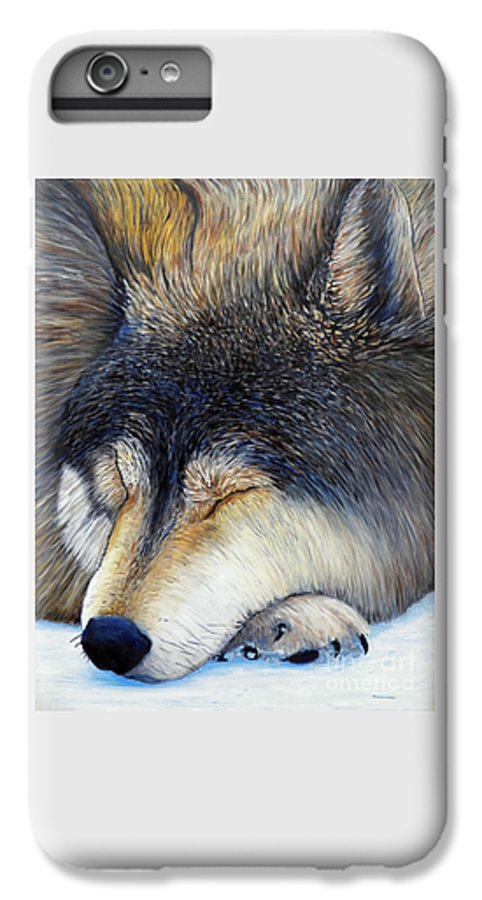 Wolf IPhone 6 Plus Case featuring the painting Wolf Dreams by Brian Commerford