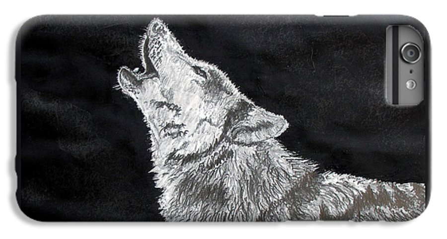 Pencil IPhone 6 Plus Case featuring the drawing Wolf Howl by Stan Hamilton