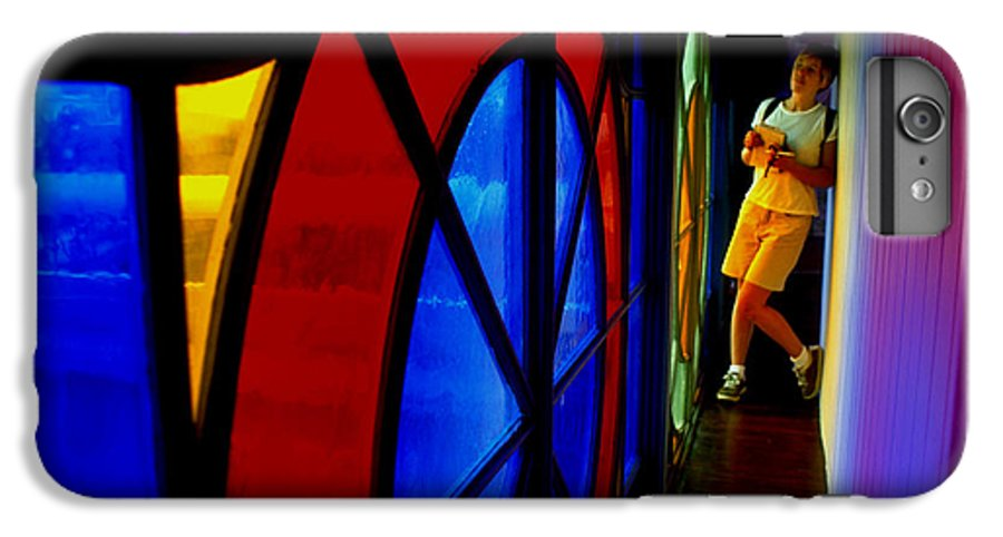 Colorful IPhone 6 Plus Case featuring the photograph Woman And Stained Glass by Carl Purcell