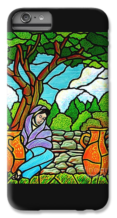 Women IPhone 6 Plus Case featuring the painting Woman At The Well by Jim Harris