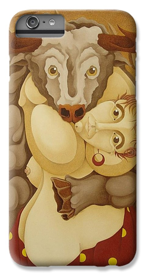 Sacha IPhone 6 Plus Case featuring the painting Woman Embracing Bull 2005 by S A C H A - Circulism Technique